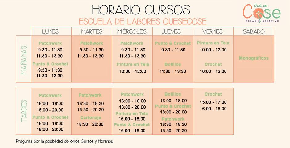 Horarios Cursos