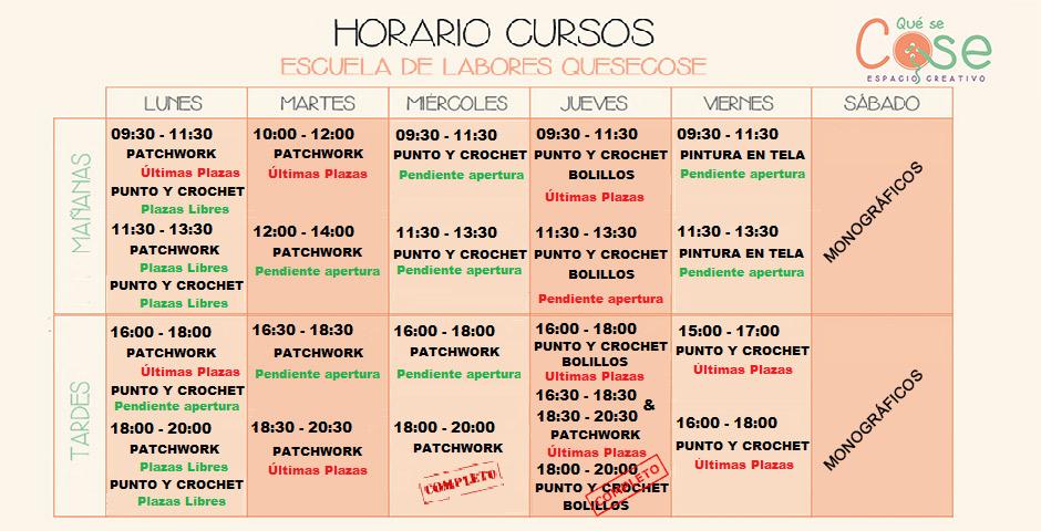 Horarios Cursos 2018 - 2019
