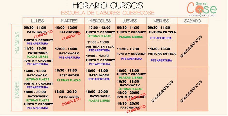 Horarios Cursos 2019 - 2020