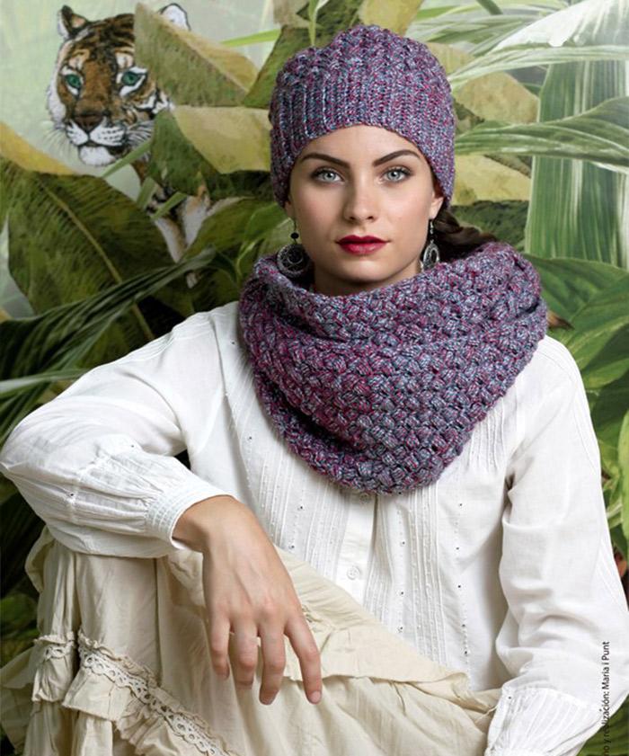 Gorro y cuello lanas Libertad de Rosas Crafts