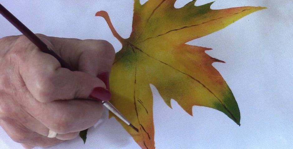 Hacemos hojas en Pintura en Tela