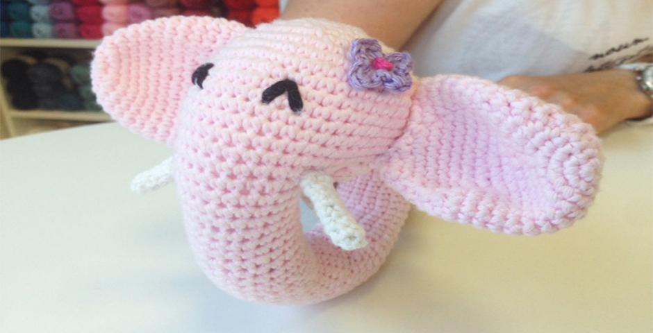 Sonajero elefante de Crochet